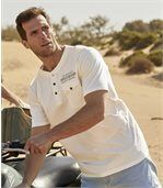 Pack of 2 Men's T-Shirts with Chest Pocket - Off-White Blue preview2