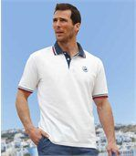 Pack of 2 Men's Polo Shirts - White Blue - Ocean Team preview2