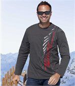 Pack of 2 Men's Long Sleeve Tops - Grey White - Mountain Sport preview2