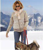 Women's Beige Zip-Up Jacket with Nordic Pattern preview2