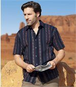 Men's Navy Blue Striped Shirt with Navajo Pattern preview1