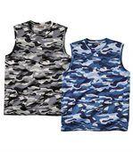 Pack of 2 Men's Camouflage Vest Tops - Grey Blue