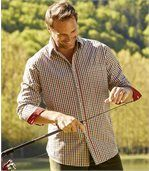 Men's Gingham Poplin Shirt - Khaki Rust Checks