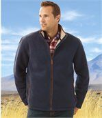 Men's Navy Blue Outdoor Fleece Jacket with Sherpa Lining