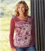 Women's Long Sleeve Top - Floral Motif  preview1