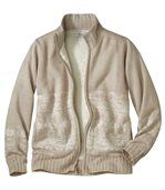 Women's Beige Zip-Up Jacket with Nordic Pattern preview3
