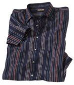 Men's Navy Blue Striped Shirt with Navajo Pattern preview2