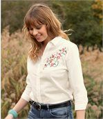 Bluse mit Blumenstrickerei preview3