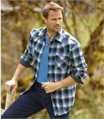 Men's Black & Blue Montana Checked Flannel Shirt preview2