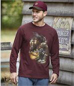 Men's Burgundy Bear Print Top