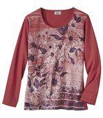 Women's Long Sleeve Top - Floral Motif  preview2