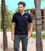 Pack of 2 Men's Jersey Polo Shirts - White Navy Blue preview1