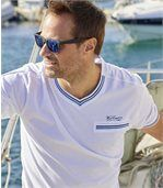 Pack of 2 Men's Yachting T-Shirts - White Blue