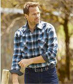 Men's Black & Blue Montana Checked Flannel Shirt preview3
