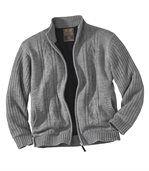 Trykotowy sweter podszyty polarem preview1