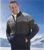 Trykotowa bluza z podszewką z kożuszka sherpa Grey Rock preview1