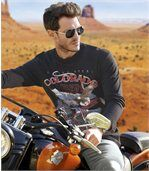 Pack of 2 Men's Long Sleeve Tops - White Black - Colorado Bikers preview3
