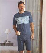 Kurzer Schlafanzug mit tropischem Aufdruck preview1