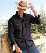 Men's Poplin Long Sleeve Shirt - Checked - Navy Ochre preview1