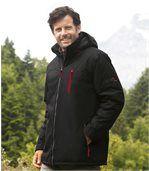 Men's Black Microtech Parka Coat