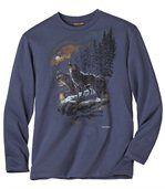 Men's Blue Long Sleeve Top with Wolf Print preview2