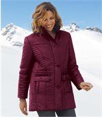 Women's Red Long Padded Coat preview1