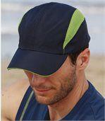 Pack of 2 Men's Microfibre Baseball Caps - Navy Turquoise