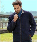 Men's Navy Blue Outdoor Fleece Jacket with Sherpa Lining preview1