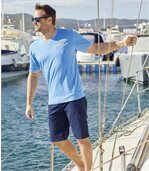 Pack of 2 Men's Yachting T-Shirts - White Blue preview3