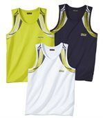 Pack of 3 Men's Summer Sports Vests - Navy green White