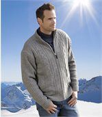 Men's Grey Fleece-Lined Knitted Jacket preview2