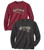 Pack of 2 Men's Long Sleeve Tops - Black Red - Canada Winter preview1