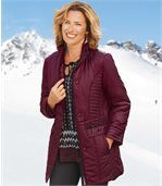 Women's Red Long Padded Coat preview2