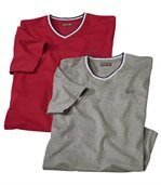 Pack of 2 Men's Tenerife T-Shirts - Red Grey preview1