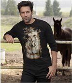 Men's Black Wolf Print T-Shirt