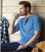 Pack of 3 Men's Short-Sleeved Contrast T-Shirts - Black Grey Blue