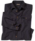 Men's Navy Poplin Shirt with Fine Checks