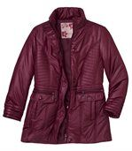Women's Red Long Padded Coat preview3