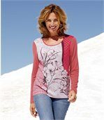Women's Long Sleeve Top with Patchwork Floral Pattern