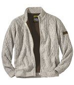 Men's Fleece-Lined Knitted Jacket - Marled Ecru