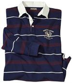 Men's Long Sleeve Striped Polo Shirt - Navy Ecru Burgundy