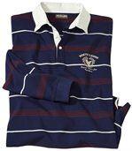 Men's Long Sleeve Striped Polo Shirt - Navy Ecru Burgundy