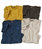 Pack of 4 Men's South Patagonia T-Shirts - Brown Yellow Ecru