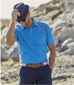 Pack of 2 Men's Ocean Team Polo Shirts - Blue White preview3