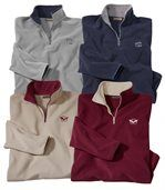 Pack of 4 Men's Microfleece Jumpers - Grey Navy Burgundy Cream