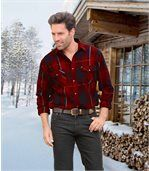 Men's Red Checked Flannel Shirt - Long Sleeves