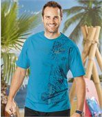 Pack of 2 Men's Printed T-Shirts - Blue Grey
