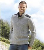 Men's Grey Knitted Jumper with Zip-Up Collar preview1