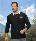 Men's Black Polo Shirt with White Collar - Jersey