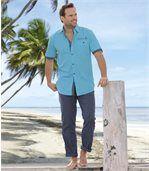 Men's Blue Cotton/Linen Trousers preview2